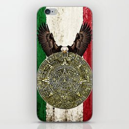 MEXICAN EAGLE AZTEC CALENDAR FLAG iPhone Skin