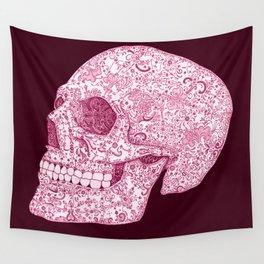 Ornamental Skull - Pink Version Wall Tapestry