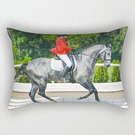 Beautiful girl riding a gray horse Rectangular Pillow