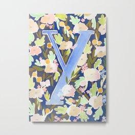 Letter Y Blue Mint Floral Monogram Metal Print