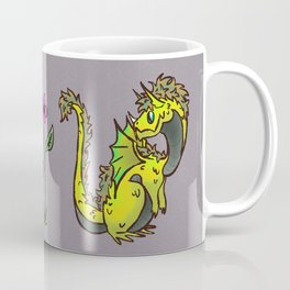 Flower Power + A Dragon - Yellow Coffee Mug