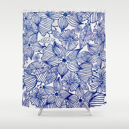 Hand painted royal blue white watercolor floral illustration Shower Curtain