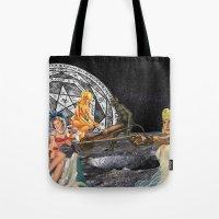pagan Tote Bags featuring Pagan Circle by Marina Poison