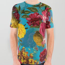 Vintage & Shabby Chic - Midnight Botanical Flower Tropical Garden All Over Graphic Tee