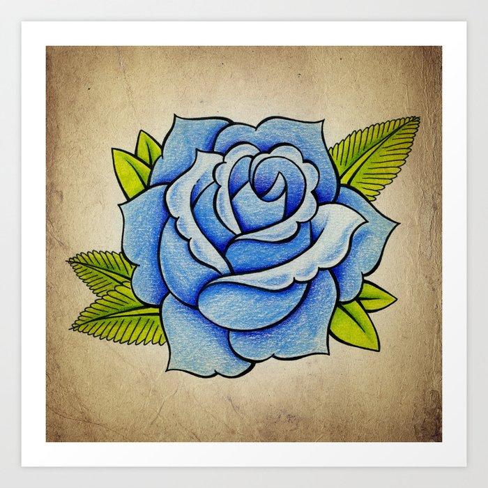 Blue Rose - Tattoo Artwork Art Print by jammyphotography | Society6