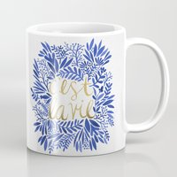 waldo Mugs featuring That's Life – Gold & Blue by Cat Coquillette
