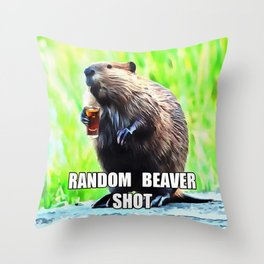 Random Beaver Shot Throw Pillow