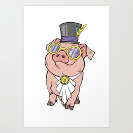 pig in a hat and glasses Art Print