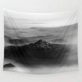 The West is Burning - Mt Shasta Black and White Wall Tapestry
