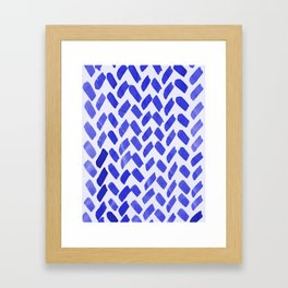 Cute watercolor knitting pattern - blue Framed Art Print