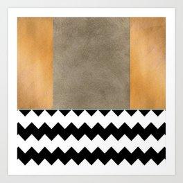 Shiny Copper Coffee Glaze And Black And White Chevron Pattern Art Print