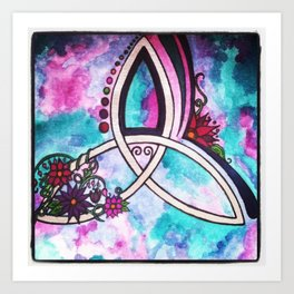 Bright Beautiful Watercolor Celtic Pagan Triquetra Art Print