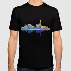 Amsterdam Skyline In Silhouette LARGE Mens Fitted Tee Black