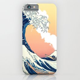 Great Wave Off Kanagawa Mount Fuji Eruption Gradient Orange and Yellow iPhone Case