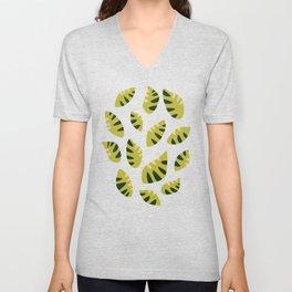 Pretty Clawed Green Leaf Pattern Unisex V-Neck