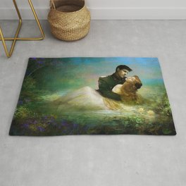 Royal couple in romantic lover's embrace Rug