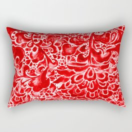 Watercolor Chinoiserie Block Floral Print in Ruby Red Porcelain Tiles Rectangular Pillow