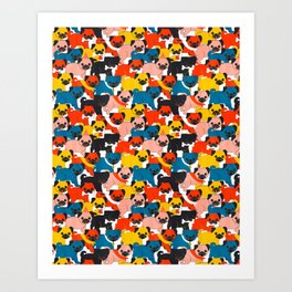 COLORED PUGS PATTERN no2 Art Print