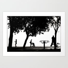 "Travel Photography ""Early morning on the Bosphorus"" - Istanbul, Turkey. Black and white photo print. Art Print"