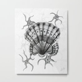 Dystopian Cockle - Black & White Metal Print