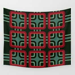 Geometric Pattern #69 (red & turquoise 1970s) Wall Tapestry