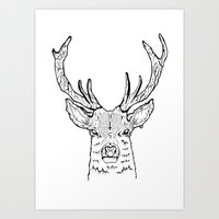 stag Art Prints featuring STAG by ALFIE creative design