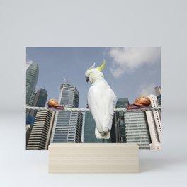 Skyline Singapur with cockatoo and snails on Rope Mini Art Print