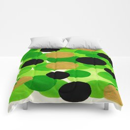 Lime Green Watercolor Bubbles Comforters