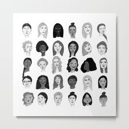 Women faces in black and white Metal Print