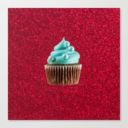 Cupcake Love | Aqua Swirl on Red Sparkle Canvas Print