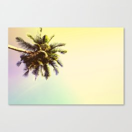 Coco Palm Tree in Yellow Tropical Sunset Canvas Print