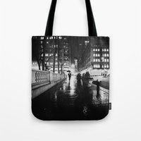 new york city Tote Bags featuring New York City Noir by Vivienne Gucwa