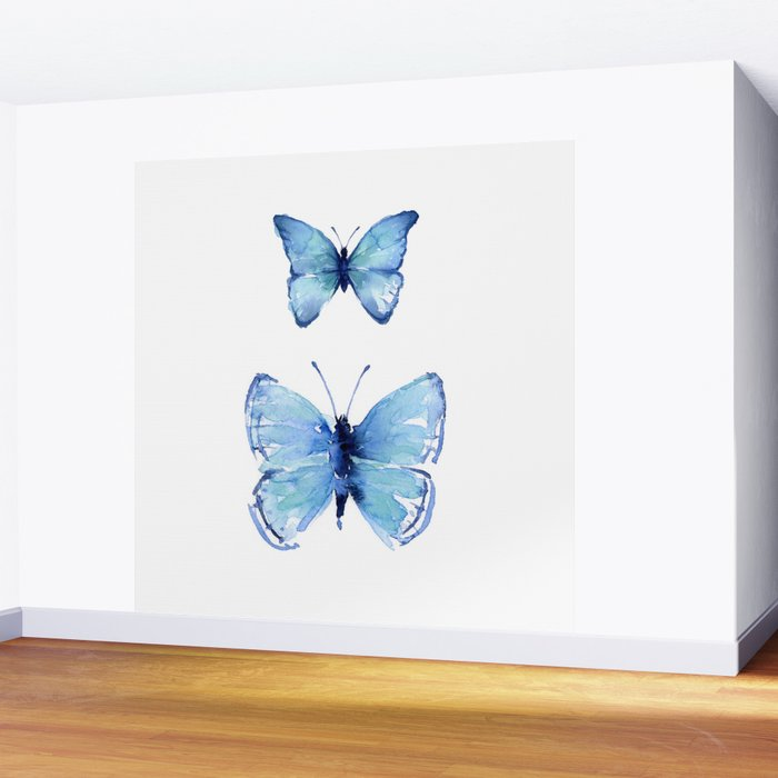 Two Blue Butterflies Watercolor Wall Mural