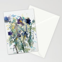 Iris Garden watercolor painting Stationery Cards