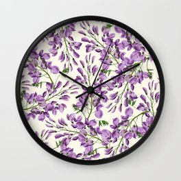 Boho forest green lavender lilac wisteria floral pattern Wall Clock