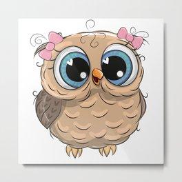Girl Owl Metal Print
