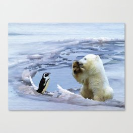 Cute Polar Bear Cub & Penguin Canvas Print