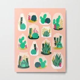 Terrariums - Cute little planters for succulents in repeat pattern by Andrea Lauren Metal Print