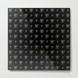 Menorah 24 black and white Metal Print