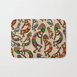 Kokopelli Rainbow Colors on Tribal Pattern  Bath Mat