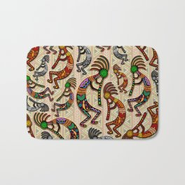 Kokopelli Rainbow Colors on Tribal Pattern  Bath Mat
