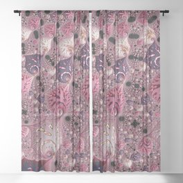 Pink Fractal Sheer Curtain