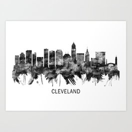 Cleveland Ohio Skyline BW Art Print