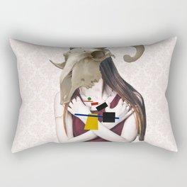 Skull Abstract Collage Rectangular Pillow
