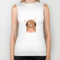 puppies Biker Tanks featuring Twin Puppies by Gabriella