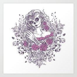 Sexy Woman zombie WITH Flower - KOBI Art Print