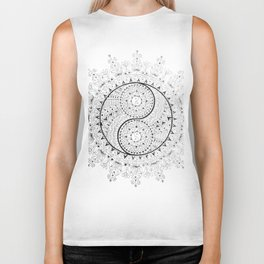 Black and White YinYang Mandala Biker Tank