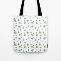 bill cipher Tote Bags featuring Bill Cipher Pattern by scribblywobbly
