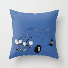 The Italian Job Blue Mini Cooper Throw Pillow