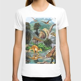 Jurassic dinosaurs drink in the river T-shirt